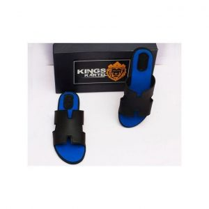 Buy Black And Blue H-tek Slip-On Sandals For Men