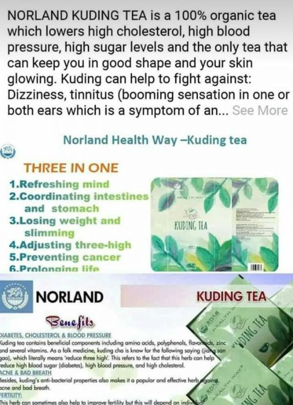 Three In One Organic Norland Kuding Tea For Sale In Nigeria
