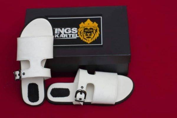 Bruze Slide White Sandals For Men For Sale In Nigeria