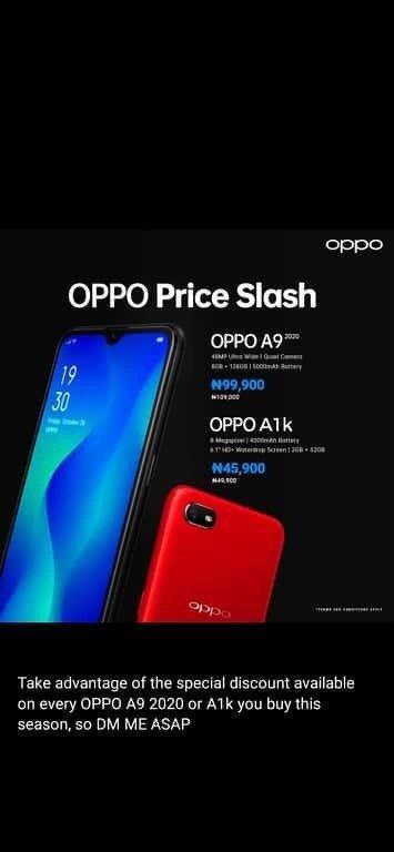 Oppo Phone Price Slash For A9 & A1k In Nigeria