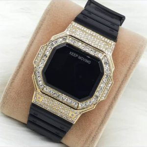 Buy Rubber Hand Iced Stone Watch