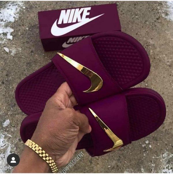 Buy Nike Slides Gold Check Slippers In Lagos