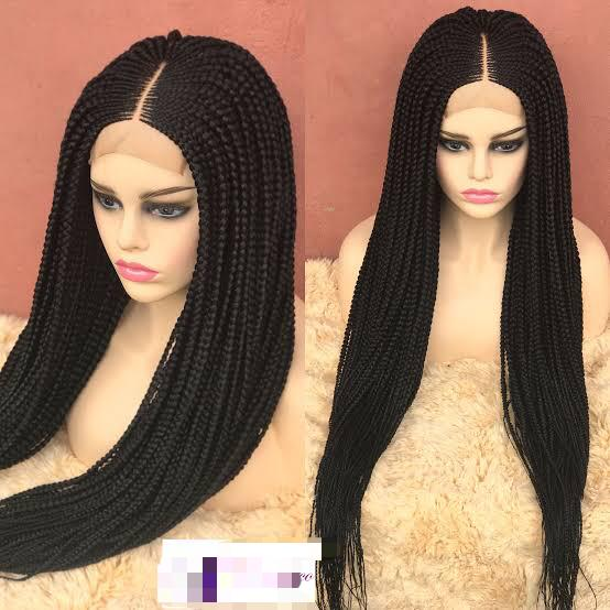 Long Box Braided Wigs With Full Closure In Lagos